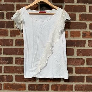 White jersey and lace t shirt. Velvet. Size small
